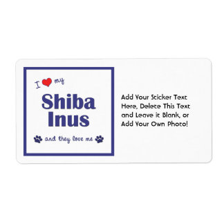 I Love My Shiba Inus (Multiple Dogs) Shipping Label