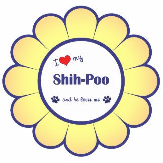 I Love My Shih-Poo (Male Dog) Photo Sculpture Ornament