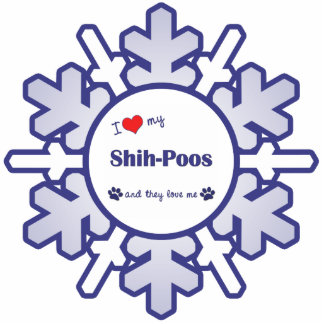 I Love My Shih-Poos (Multiple Dogs) Photo Sculpture Ornament