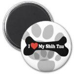 I Love My Shih Tzu - Dog Bone 2 Inch Round Magnet