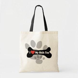 I Love My Shih Tzu - Dog Bone Budget Tote Bag
