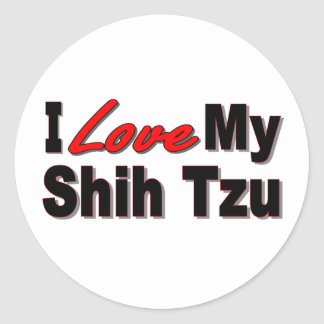 I Love My Shih Tzu Dog Gifts and Apparel Round Stickers