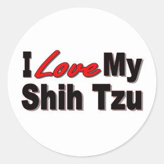 I Love My Shih Tzu Dog Gifts and Apparel Classic Round Sticker