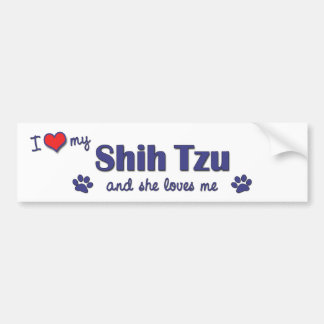I Love My Shih Tzu (Female Dog) Bumper Sticker