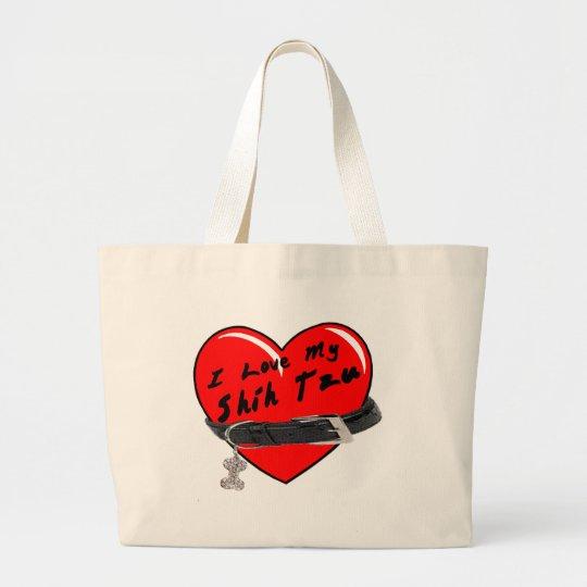 I Love My Shih Tzu Heart with Dog Collar Large Tote Bag
