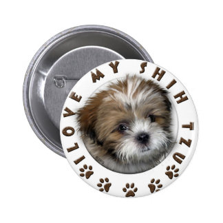 I Love My Shih Tzu Tender Pet Design Button