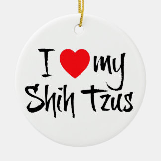 I Love My Shih Tzus Double-Sided Ceramic Round Christmas Ornament
