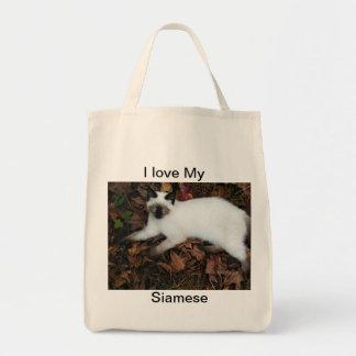 I love My Siamese, (c)kgberry 2010 Organic  Tote Grocery Tote Bag