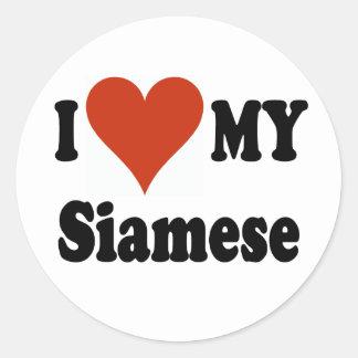 I Love My Siamese Cat Merchandise Classic Round Sticker