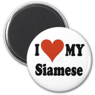 I Love My Siamese Cat Merchandise Magnets