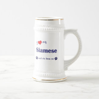 I Love My Siamese (Female Cat) 18 Oz Beer Stein