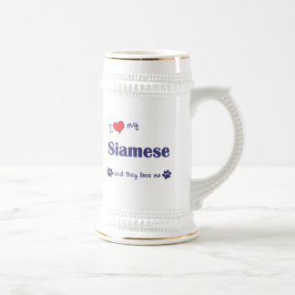 I Love My Siamese (Multiple Cats) 18 Oz Beer Stein