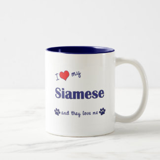 I Love My Siamese (Multiple Cats) Two-Tone Coffee Mug