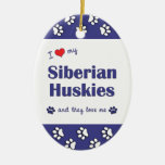 I Love My Siberian Huskies (Multiple Dogs) Christmas Tree Ornament