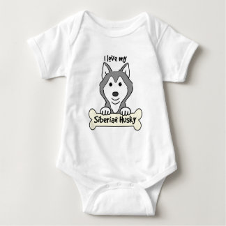 I Love My Siberian Husky Baby Bodysuit