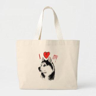 I Love My Siberian Husky Bag