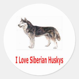 I Love My Siberian Husky Classic Round Sticker