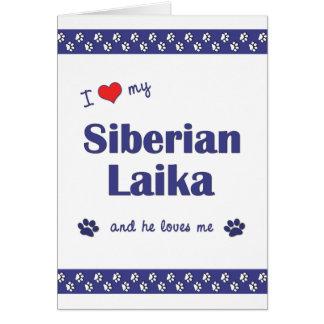 I Love My Siberian Laika (Male Dog) Greeting Cards