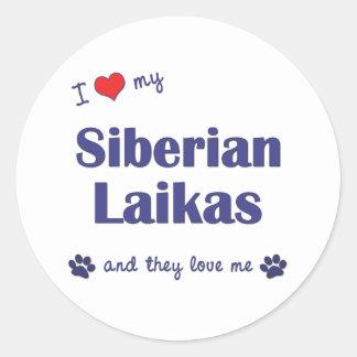 I Love My Siberian Laikas (Multiple Dogs) Classic Round Sticker