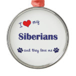 I Love My Siberians (Multiple Cats) Round Metal Christmas Ornament