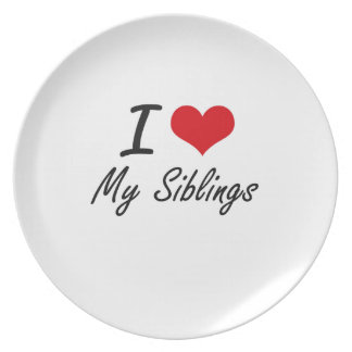 I Love My Siblings Party Plates