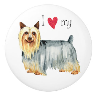 I Love my Silky Terrier Ceramic Knob