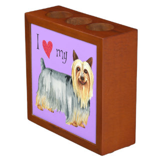 I Love my Silky Terrier Desk Organizer