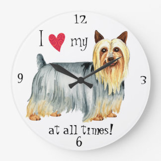 I Love my Silky Terrier Large Clock