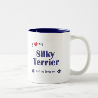 I Love My Silky Terrier (Male Dog) Two-Tone Coffee Mug