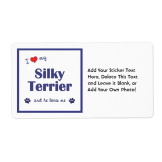 I Love My Silky Terrier (Male Dog) Shipping Label