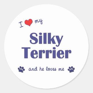 I Love My Silky Terrier (Male Dog) Classic Round Sticker