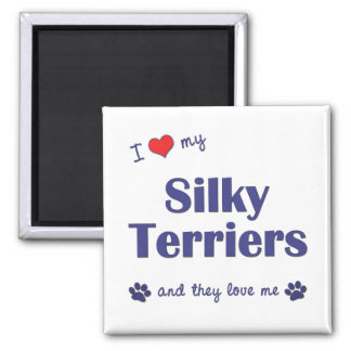 I Love My Silky Terriers (Multiple Dogs) 2 Inch Square Magnet