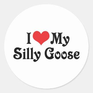 I Love My Silly Goose Classic Round Sticker
