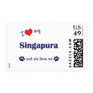 I Love My Singapura (Female Cat) Postage Stamp
