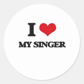 I Love My Singer Round Sticker