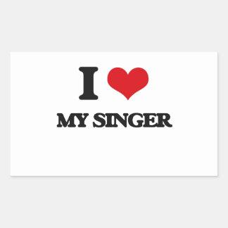 I Love My Singer Rectangular Sticker