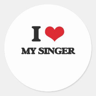 I Love My Singer Round Stickers