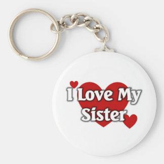 I love my sister basic round button keychain