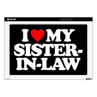 """I LOVE MY SISTER-IN-LAW DECALS FOR 17"""" LAPTOPS"""