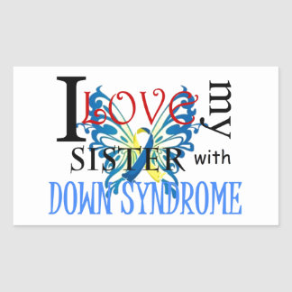 I Love My Sister with Down Syndrome Rectangular Sticker