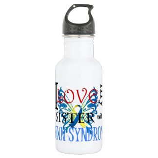 I Love My Sister with Down Syndrome Water Bottle