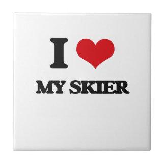 I Love My Skier Ceramic Tiles