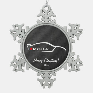 I Love My Skyline GT-R Snowflake Pewter Christmas Ornament