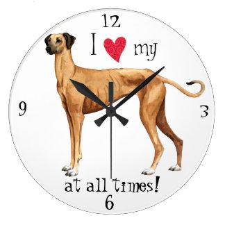 I Love my Sloughi Large Clock
