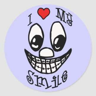 I Love My Smile Classic Round Sticker