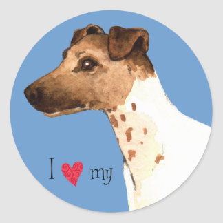 I Love my Smooth Fox Terrier Classic Round Sticker