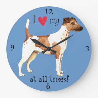 I Love my Smooth Fox Terrier Large Clock