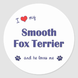 I Love My Smooth Fox Terrier (Male Dog) Classic Round Sticker
