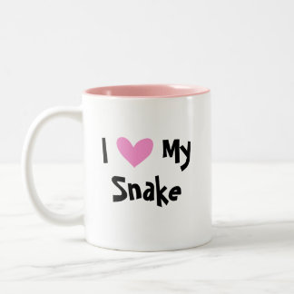 I Love My Snake (customize species name) Two-Tone Coffee Mug