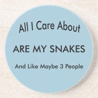 I Love My Snakes Drink Coaster
